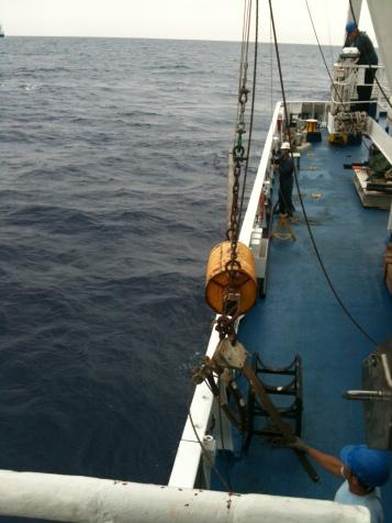 Campionamento sedimenti di mare profondo con carotiere a gravità per studi paleoclimatici (Canale di Sicilia), foto G. Margaritelli.