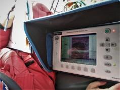 Il monitor di acquisizione degli spessori del ghiaccio marino. Foto di S. Urbini, ©PNRA