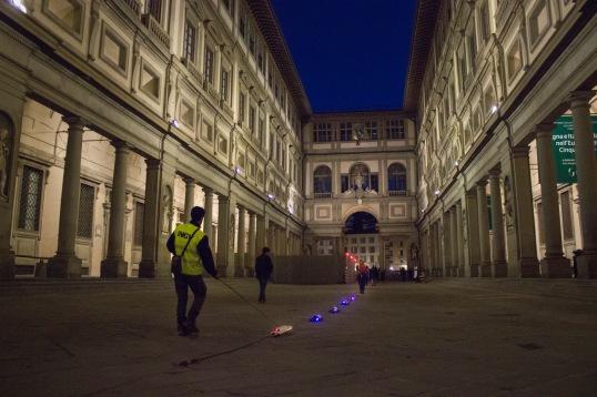 Misure geofisiche alla Galleria degli Uffizi a Firenze. Foto di V. Sapia © INGV